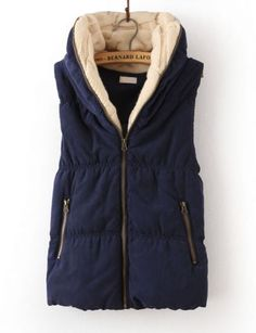 Navy Hooded Sleeveless Zipper Cotton Vest by Bernhard Lafond