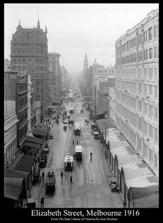 Elizabeth Street, Melbourne 1916 looking north Copyright expired image. Taken By: Kerr Brothers Original image from The State Library of Victoria. This Image has been restored by Foto Supplies, Albury, NSW, Australia Australia Day, Victoria Australia, Melbourne Australia, Melbourne Cbd, Brisbane, Melbourne Weather, Melbourne Suburbs, Melbourne Street, Elizabeth Street