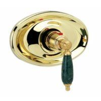 """Phylrich TH158FTO-024 Carrara 3/4"""" Thermostat - Trim Only by Phylrich. $735.00. Phylrich Thermostat - Trim OnlyCarrara CollectionGreen Marble HandleLess Rough-In ValveRough-In Valve RequiredRough-In Valve Must be Added to Complete TrimIntegral Stops and FiltersAnti-Scald"""