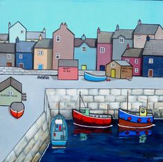 ARTFINDER: Fishing Trips by Paul Bursnall - A fishing harbour with houses and boats. Painted on Loxley Gold box canvas with the image around the sides so that a frame is not needed. Ready to hang.