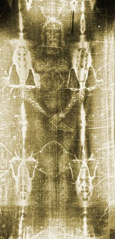 The Shroud of Turin is the cloth which Jesus was allegedly wrapped in after being crucified, when he was put in the tomb (Mt 27:59f; Mk 15:46; Lk 23:53; 24:12; Jn 20:5-8). It bears an image of a crucified man on it, front and back, as well as very accurate bloodstains; presumably from the wounds. When the Shroud is photographed, becomes much more clear, appearing to be 3-dimensional.  Amazing!