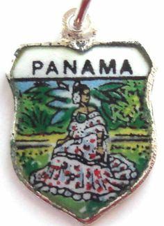 Panama Lady in Pollera Silv Enamel Travel Shield Charm | eBay