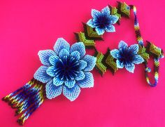 Huichol big light and dark blue flower necklace by Aramara on Etsy (www.etsy.com/uk/people/Aramara)