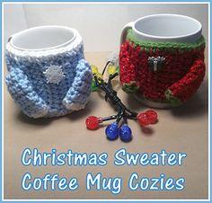Ravelry: Sweater Coffee Mug Cozie pattern by Sara Sach Crochet Coffee Cozy, Crochet Cozy, Christmas Coffee, Christmas Gifts, Ravelry, Mug Cozy, Coffee Sleeve, Crochet Kitchen, Coffee Lover Gifts