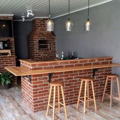 Sin duda que sí, tener Kitchen Room Design, Outdoor Kitchen Design, Home Decor Kitchen, Patio Kitchen, Patio Bar, Backyard Patio, Outdoor Fireplace Designs, Home Bar Furniture, Modern Kitchen Interiors