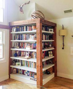 Top 20 Before & Afters of All Time: A Ten Barn Farm Renovation – Design*Sponge Corner Bookshelves, Bookcases, Corner Shelf, Loft Door, Barn Siding, Barn Renovation, Old Farm Houses, Barbie Dream House, Wood Shelves