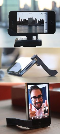 http://www.ebay.it/itm/160954031545?ssPageName=STRK:MESELX:IT&_trksid=p3984.m1555.l2649#ht_6681wt_1220    The Glif: a simple little tripod mount for your iPhone 4