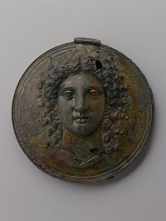 Classical Greek Bronze Box Mirror, late 4th C. BCE. Possibly Aphrodite.