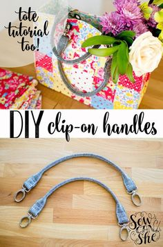 DIY clip on bag handles + tote bag pattern + tutorial