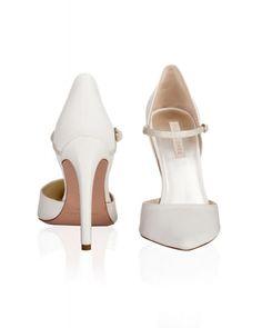 Pura Lopez  Doreen Zapatos de punta fina y tacón alto en raso blanco roto  Tacones 26290fce12b3