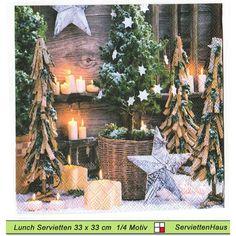Kerzen mit Tannenbäume - 4 Servietten