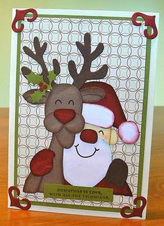Santa and Rudolph punch art! Cricut Christmas Cards, Christmas Card Crafts, Holiday Cards, Paper Punch Art, Punch Art Cards, Christmas Punch, Beautiful Handmade Cards, Christmas Illustration, Winter Cards