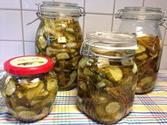 Pickels, Fall Recipes, Preserves, Love Food, Body Care, Cucumber, Side Dishes, Mason Jars, Bacon