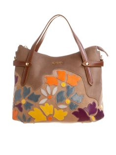 taupe leather floral handbag from Italy