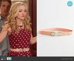 ModCloth Little Bit of Glitz Belt in Rose worn by Liv Rooney on Liv & Maddie Basic Outfits, Girly Outfits, Cute Outfits, Fashion Tv, Couture Fashion, Fashion Outfits, Liv Rooney, Dove Cameron Style, Red Polka Dot Dress