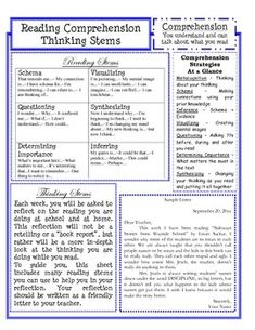 I have the students do this weekly and created a scoring Guide for it! The thinking when reading that is taking place is awesome! The thinking stems hel kids and parents equally! Reading Comprehension Strategies, Reading Resources, Reading Skills, Teaching Reading, Guided Reading, Close Reading, Free Reading, Reading Homework, Reading Groups