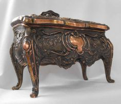 Antique Jewelry Casket Art Nouveau Copper Plated by Nonnie60, $48.00