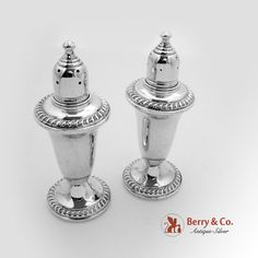 Gadrooned Salt And Pepper Shaker Set Sterling Silver Empire 1940