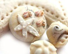 Creamy beige Handmade lampwork glass beads  ivory by MayaHoney, $21.00