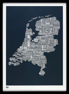 Bold & Noble: Netherlands type map sheer slate