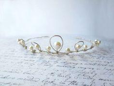 Silver Wire Tiara, Wedding Hair, White Pearl Tiara, Bridal Hair Accessory, White Tiara, Swedish Jewelry Design, Made In Sweden