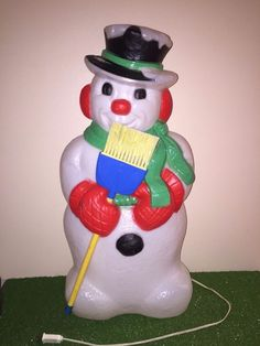 Rare Vintage Christmas TPI Lighted Snowman With Broom Lighted Blow Mold Decor
