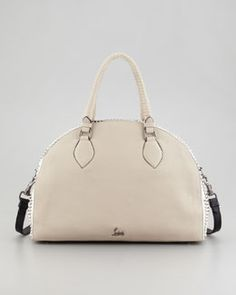 V1EDJ Christian Louboutin Panettone Large Dome Satchel Bag, Stone