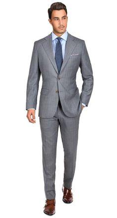 Sartoria Blue Stripe Grey Super Suit – JC Knight – Join the world of pin Light Grey Suits, Grey Suit Men, Grey Suit Shoes, Der Gentleman, Gentleman Style, Mens Fashion Suits, Mens Suits, Grey Suit Combinations, Pinterest Mode