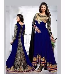 Buy Blue georgette embroidered semi stitiched salwar with dupatta anarkali-salwar-kameez online