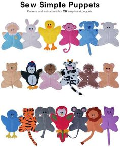 Sew Simple Puppets - Animals pattern on Craftsy.com HAND PUPPET PATTERNS: Patterns and instructions for 20 easy to make hand puppets, including a baby, bear, bird, bunny, cat, chicken, cow, dog, duck, elephant, gingerbread, lion, monkey, mouse, owl, parrot, penguin, pig, sheep, and tiger.