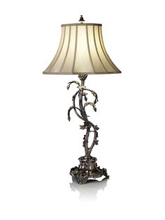 "Art Deco by John-Richard Collection  Grapevine Table Lamp  Antiqued aluminum with intricate carvings, line switch, requires (1) 150-watt 3-way bulb, 15"" diameter  Dimensions: height 33""  Material type: Aluminum"