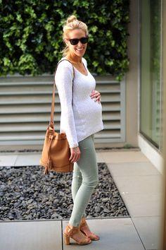 AG Maternity Denim + Destination Maternity Sweater + Elaine Turner Cork Sandals // FashionableHostess.com