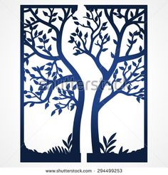 Two Fold wedding invitation template with tree. Suitable for laser cutting. Lazercut tree card.  Abstract frame with tree. Cut out wedding invitation template. Die cut card.  - stock vector