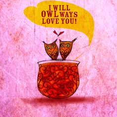 """#Tea and #owls with a spoon full of love. What my #Tea says to me September 5 - """"I will OWLways love you!"""" Remember to drink YOUR life in and celebrate the love :) Cheers  (What my #Tea says to me is a daily, illustrated series created by Jennifer R. Cook )"""