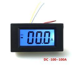 Digital LCD Ammeter Ammpere Current Panel Meter DC +/-100A 12V Positive Negative Tester Blue Backlight 3 Digit Four Wires