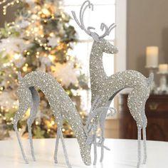 ☆ White Christmas Wonderland ☆  Silver Beaded Deer
