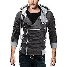 DJT Men's Oblique Zipper Hoodie Casual Top Coat Slim Fit Jacket Grey XL