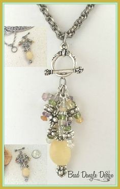 Beautiful Yellow Quartz accented with Multi-Color Gemstones and Pewter accents. Beaded Dangles are Interchangeable so you can replace with a variety of Dangles available. A variety of Chains are available. Shown with Spiral Link Rhodium Chain available in different lengths. Visit Bead Dangle Design to see entire Collection.