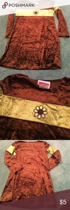 Brown and Green Velour size 6 dress Cut very small Dresses Casual