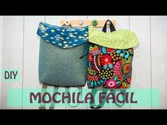Cómo hacer una mochila de tela. - YouTube Mochila Tutorial, Diy Backpack, Fabric Bags, Big Bags, Diy And Crafts, Projects To Try, Textiles, Backpacks, Quilts