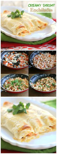Creamy Shrimp Enchiladas - full of fresh shrimp, cilantro, and peppers and topped with a creamy cheese sauce.