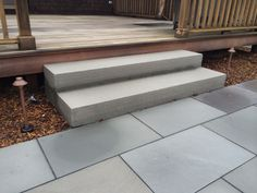 Monolithic thermalled  bluestone steps. Clean and simple.. Nantucket