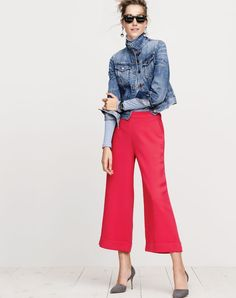J.Crew women's denim jacket in Tyler wash, 10 percent turtleneck T-shirt, cropped wide-leg pull-on pant, Elsie suede d'Orsay pumps, Sam sunglasses and tortoise and pavé crystal earrings.