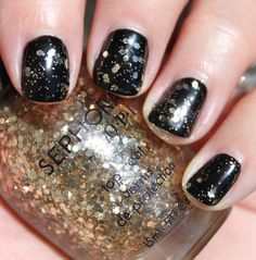 Sephora by OPI Only Gold For Me looks gorgeous over black and also over nudes