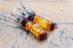 Sterling zilveren oorbellen met 3 tinten amber halfedelsteen /