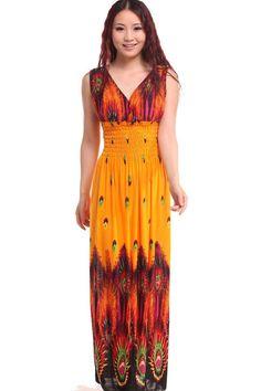 women deep v-neck long beach dress