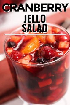 Make this refreshing Cranberry Jello Salad for dessert for your festive parties or have it as tasty side dish for your holiday table. This fruity twist really makes this jello salad a real treat. Fun Easy Recipes, Delicious Dinner Recipes, Best Dessert Recipes, Veggie Recipes, Fun Desserts, Easy Meals, Cooking Recipes, Veggie Food, Cooking Tips
