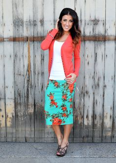 Printed Midi Skirt Bright Mint and Coral