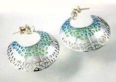 Silver and green/blue enamel drop earrings by Aradesi Jewellry