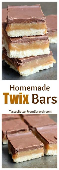 These homemade twix bars are insanely delicious! Shortbread cookie with caramel and chocolate. On MyRecipeMagic.com